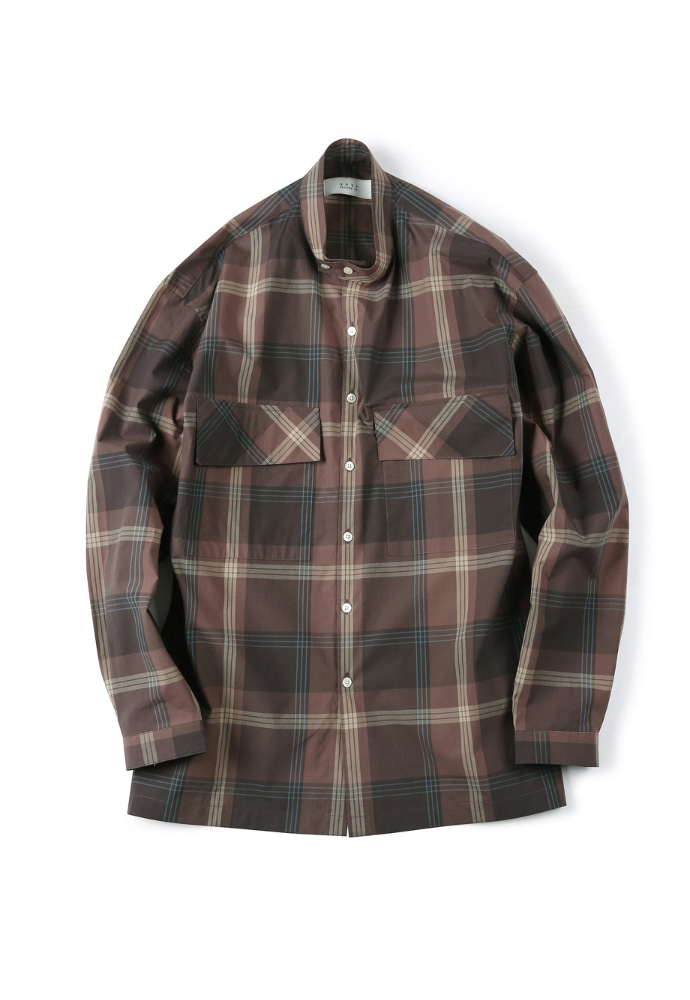 Shirter셔터 CHECKED BAND COLLAR SHIRT BROWN