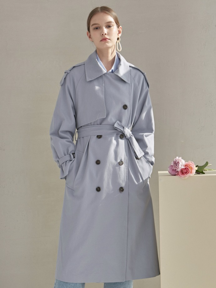 Yan13얀써틴 CAMILLA DOUBLE TRENCH COAT_SKY BLUE