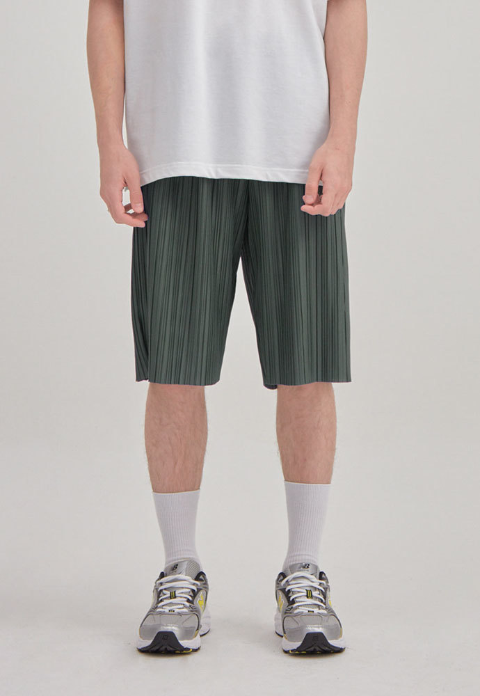 ENOU에노우 PLEATED SHORTS[KHAKI]