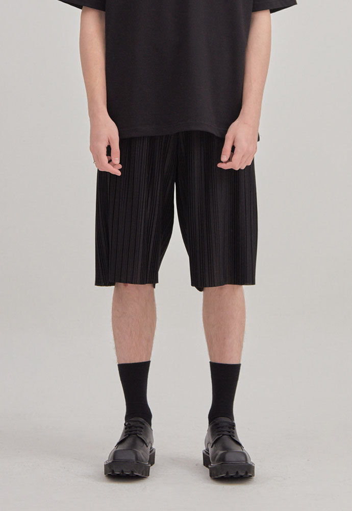 ENOU에노우 PLEATED SHORTS[BLACK]