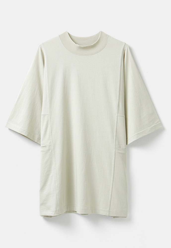 YOUTH유스랩 Mock Neck Half T-shirt Light Beige