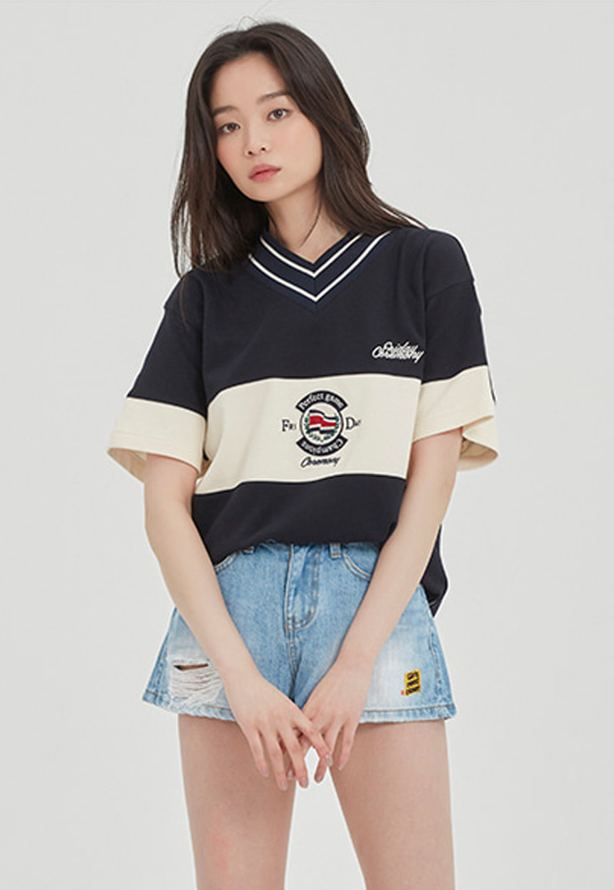Romantic Crown로맨틱크라운 PERFECT GAME V NECK JERSEY_NAVY