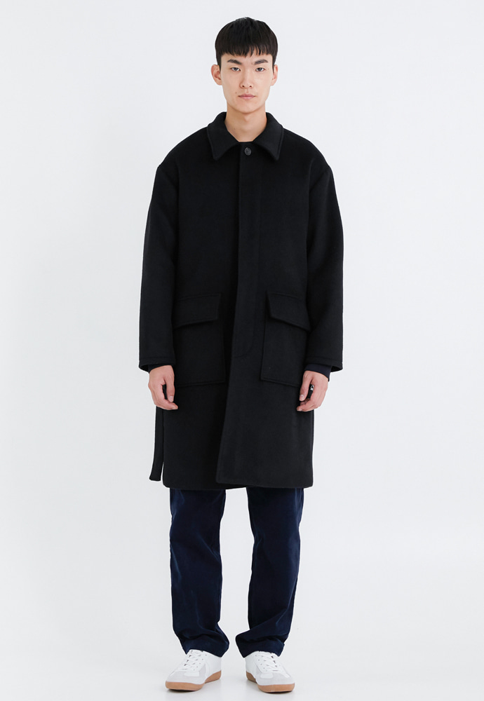 OURSCOPE아워스코프 Belted Wool Coat (Black)
