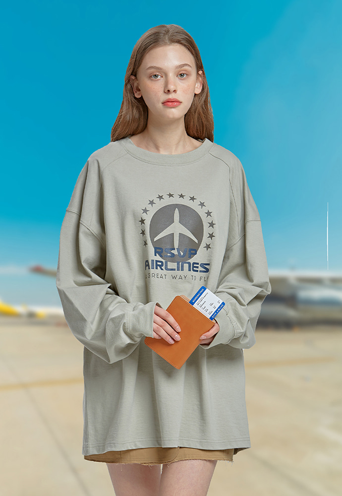 RSVP알에스브이피 STAR AIRLINES LONG SLEEVE T-SHIRTS (KHAKI)