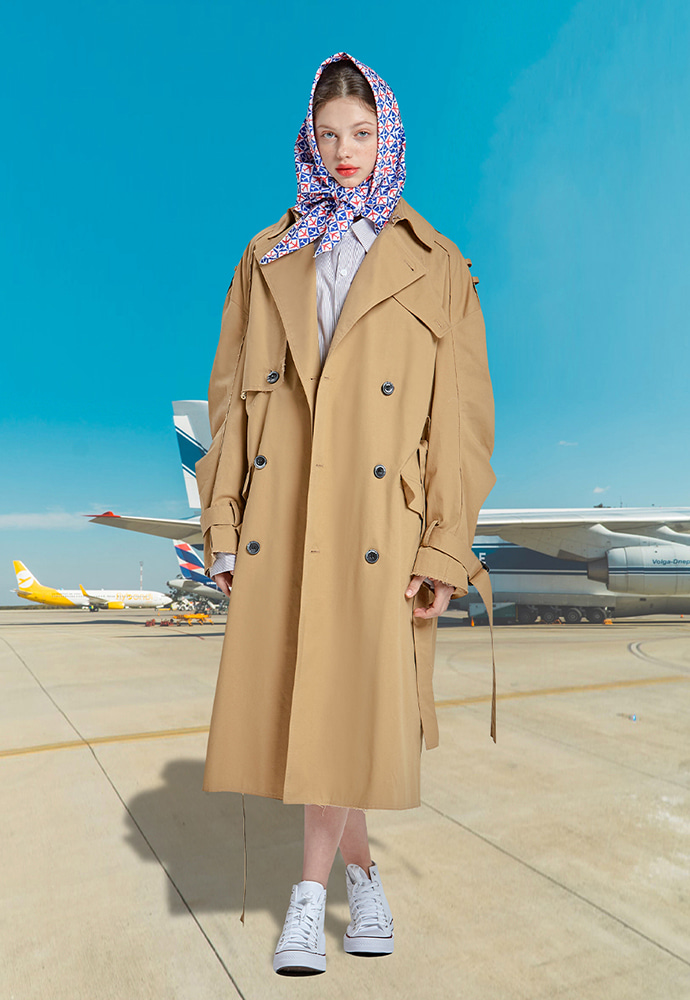 RSVP알에스브이피 RAW EDGE OVER-FIT TRENCH COAT (BROWN)