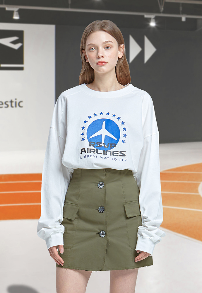 RSVP알에스브이피 STAR AIRLINES LONG SLEEVE T-SHIRTS (WHITE)
