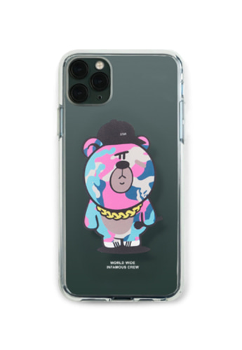 Stigma스티그마 PHONE CASE CAMOUFLAGE BEAR PINK CLEAR iPHONE 11 / 11 Pro / 11 Pro Max