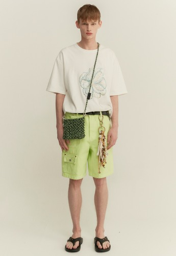 Anderssonbell앤더슨벨 MULTI POCKET WASHED COTTON ZIPPER SHORTS apa317m(LIME)