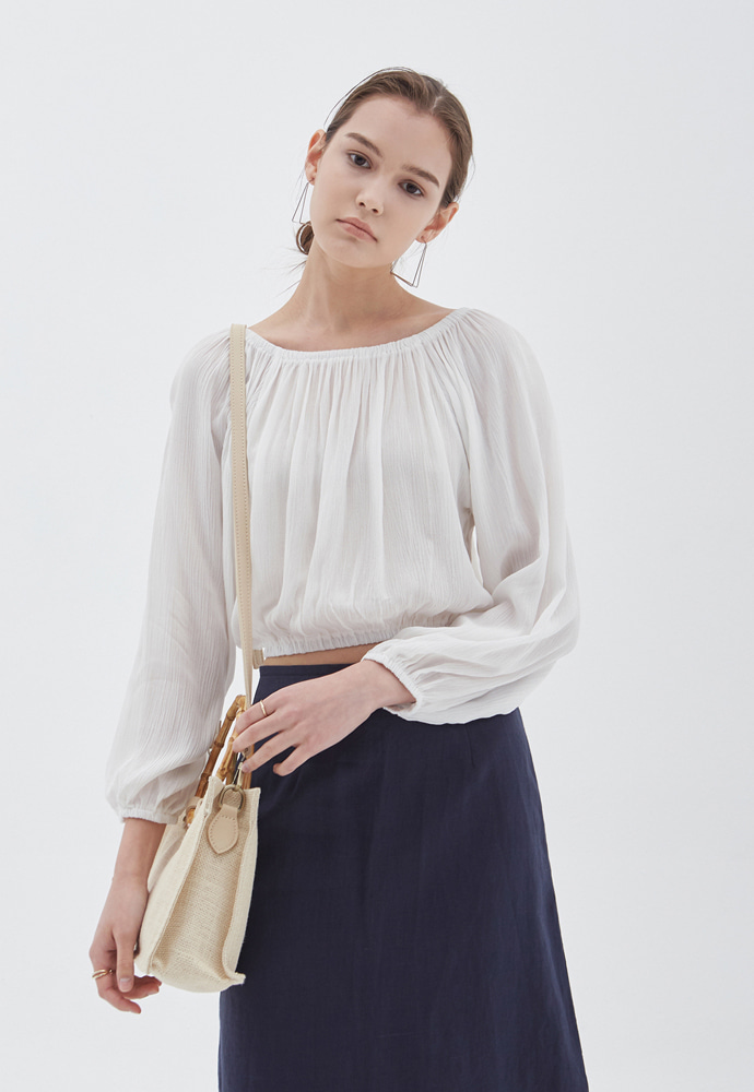 L'OEIL로에일 CLEAR OFF-SHOULDER BLOUSE_IVORY