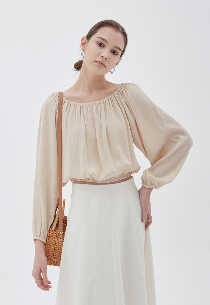 L'OEIL로에일 CLEAR OFF-SHOULDER BLOUSE_BEIGE