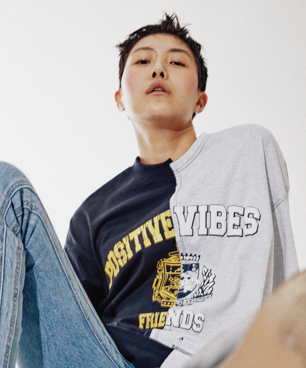 ORDINARY PEOPLE오디너리피플 [ORDINARYPEOPLE X DISNEY] POSITIVE VIBES NAVY&WHITE MELANGE T-SHIRTS