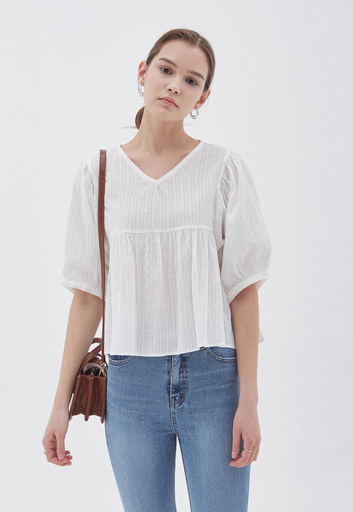 L'OEIL로에일 NEEDIE BASE STRAP BLOUSE_IVORY