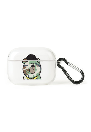Stigma스티그마 AirPods Pro CASE CAMOUFLAGE BEAR GREEN CLEAR