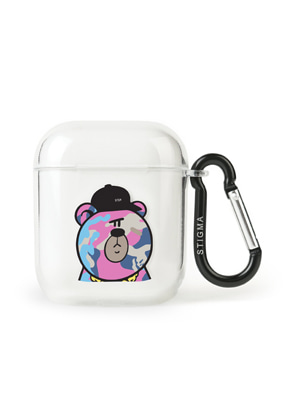 Stigma스티그마 AirPods CASE CAMOUFLAGE BEAR PINK CLEAR