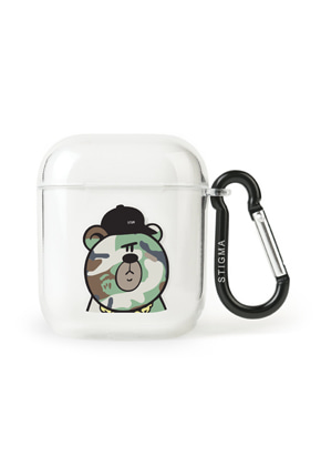 Stigma스티그마 AirPods CASE CAMOUFLAGE BEAR GREEN CLEAR