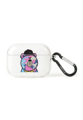 Stigma스티그마 AirPods Pro CASE CAMOUFLAGE BEAR PINK CLEAR