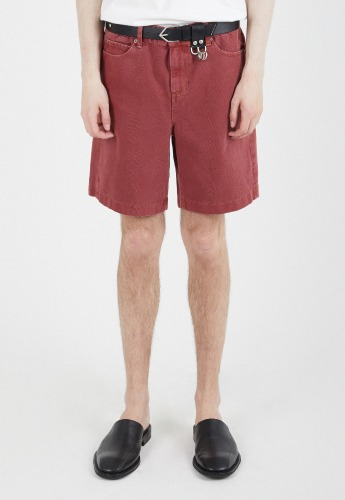 ADDOFF애드오프 Newtro Denim Shorts - Cranberry