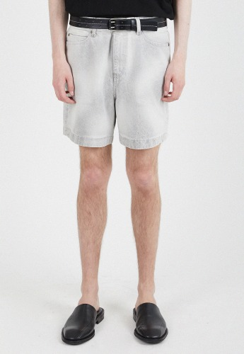 ADDOFF애드오프 Newtro Denim Shorts - Swizzle White
