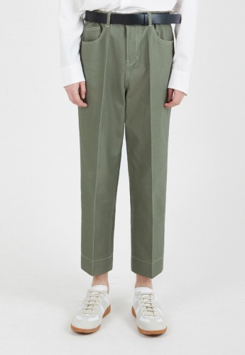 ADDOFF애드오프 Newtro Crop Denim Pants - Eden Green
