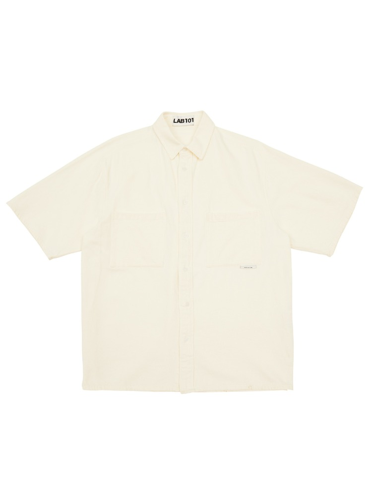 Lab101랩원오원 TWO POCKET IVORY BLEACHED SHIRT