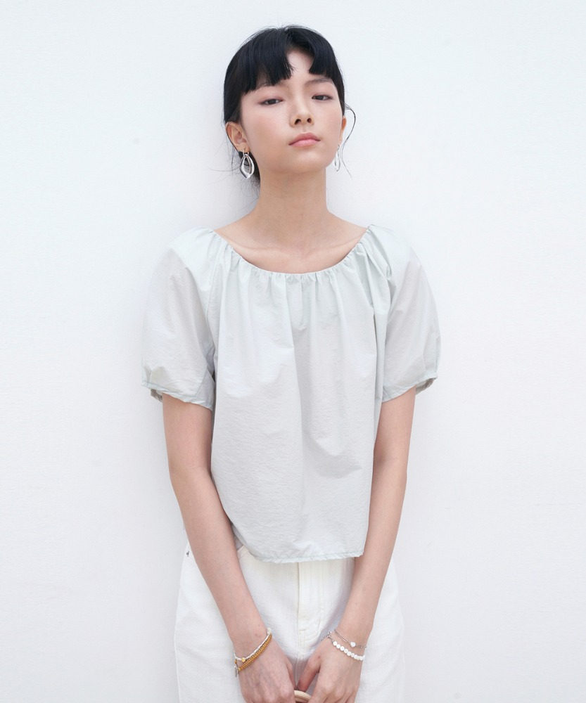 L'OEIL로에일 SHIRRING CROP BLOUSE_MINT