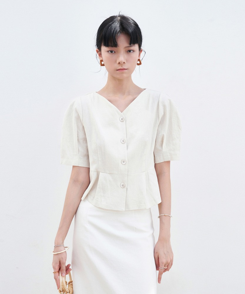 L'OEIL로에일 V-NECK PINTUCK BLOUSE_IVORY