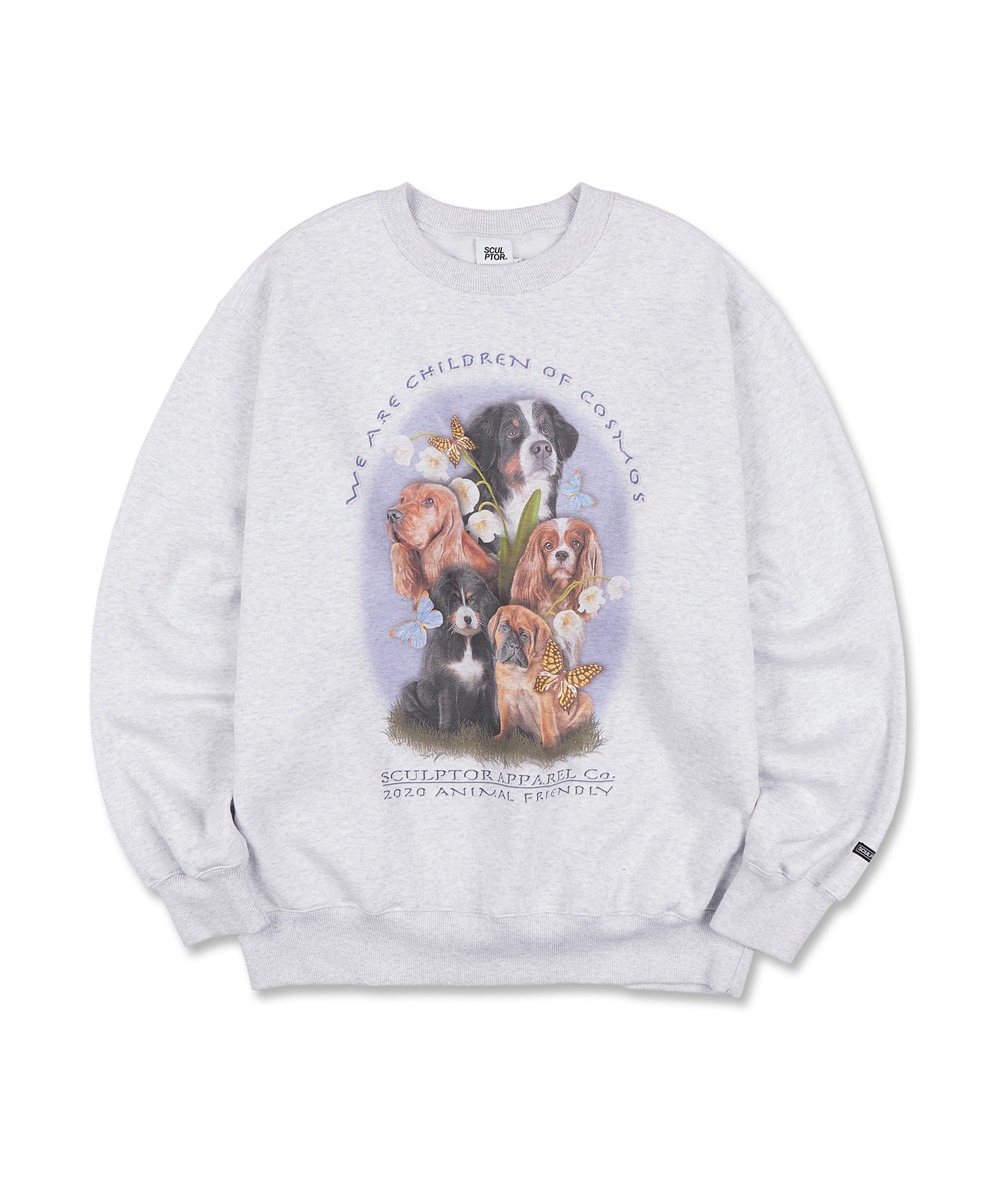 SCULPTOR스컬프터 [UNISEX] Puppy Friends Sweatshirt [WHITE MELANGE]