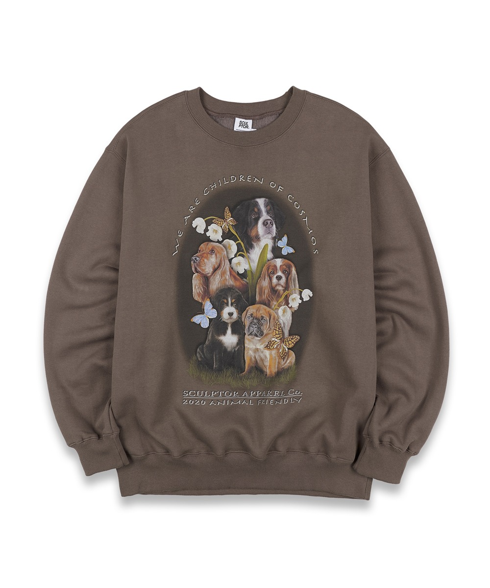 SCULPTOR스컬프터 [UNISEX] Puppy Friends Sweatshirt [MOCHA]