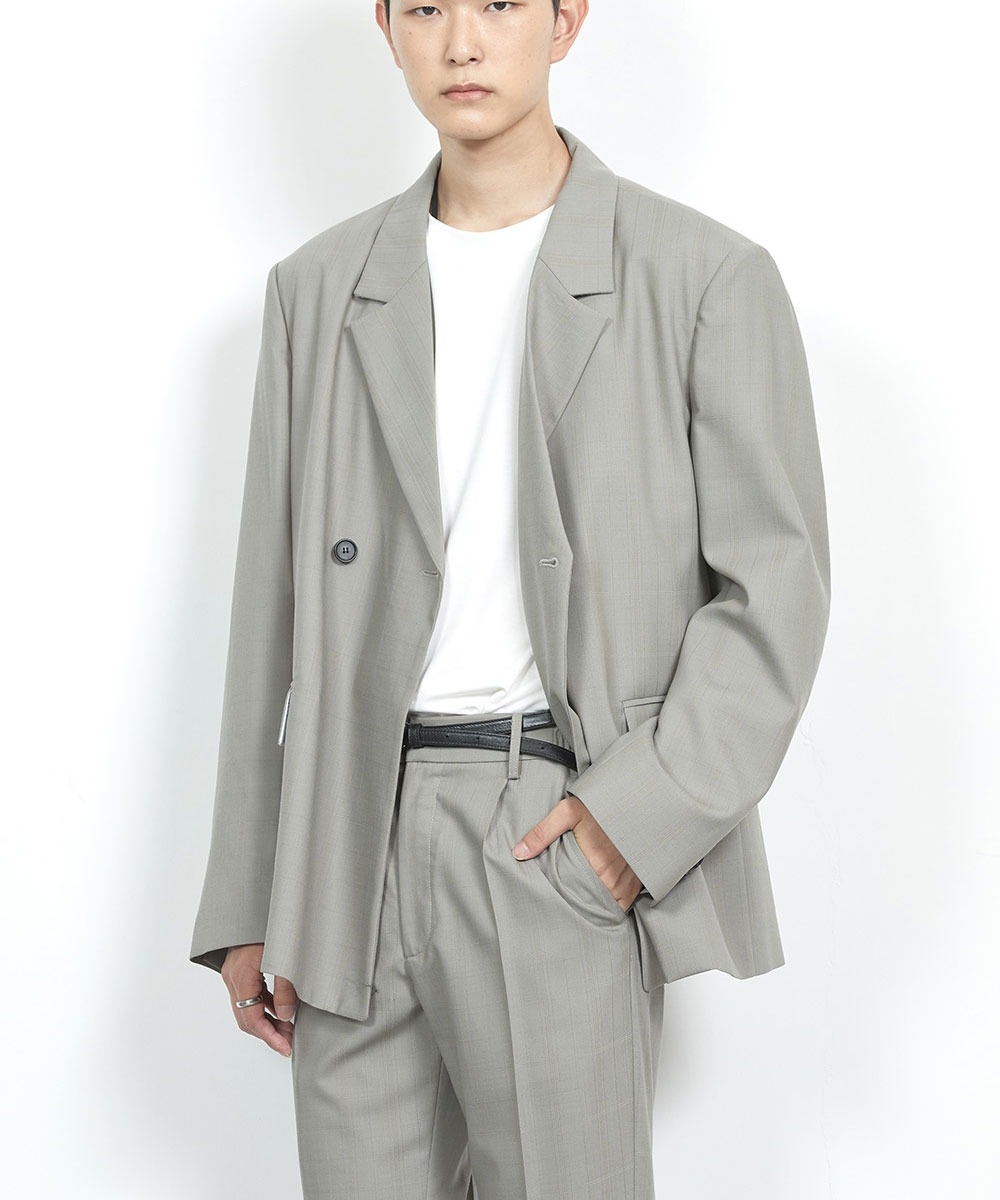HALEINE알렌느 GREYBROWN wool double jacket(LO022)**LIMITED EDITION**