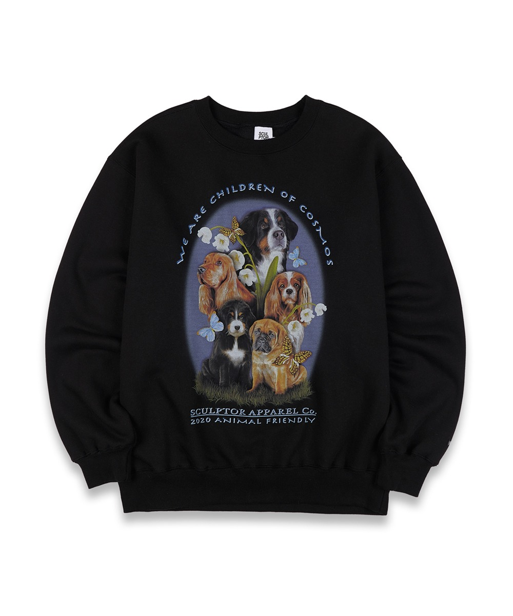 SCULPTOR스컬프터 [UNISEX] Puppy Friends Sweatshirt [BLACK]