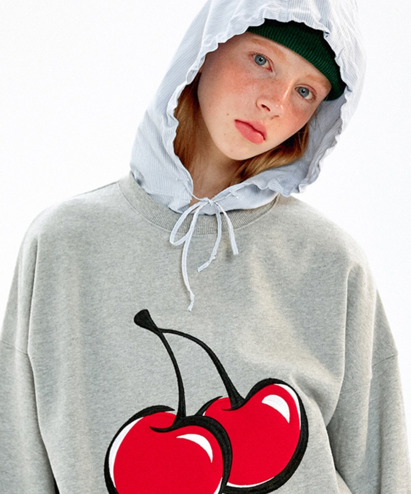KIRSH키르시 BIG CHERRY SWEATSHIRT JA [MELANGE GRAY]