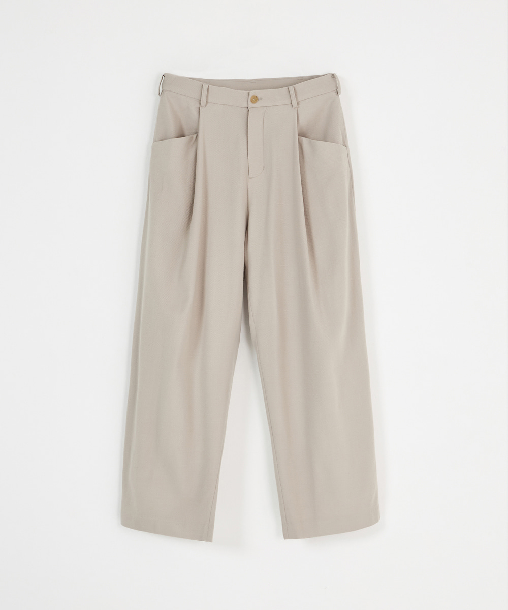 YOUTH유스랩 Structured Wide Pants Light Beige