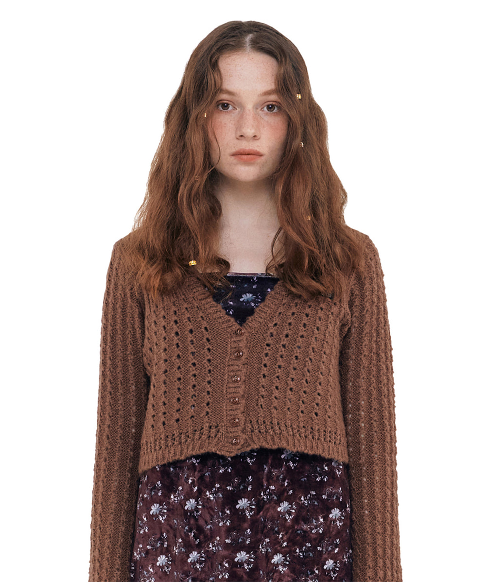 SCULPTOR스컬프터 Bell Sleeve Crop Cardigan [BROWN]