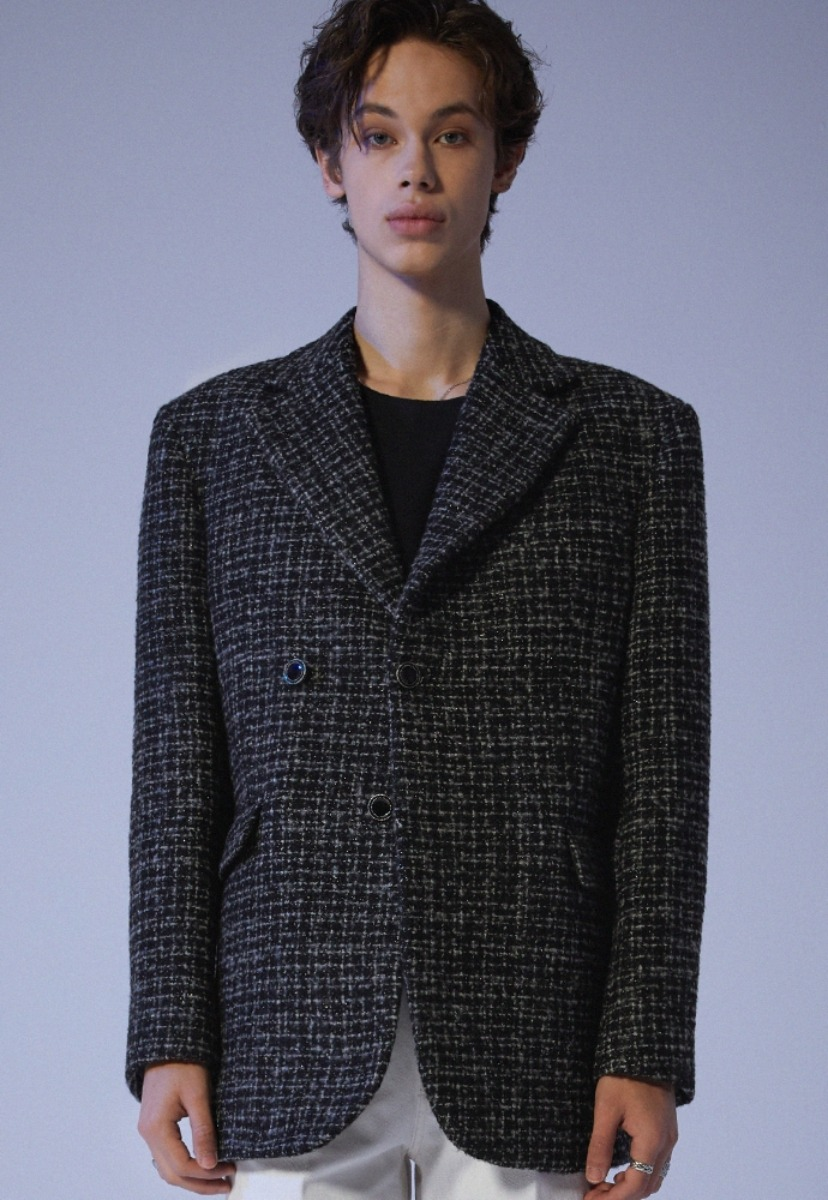 ADDOFF애드오프 Oversized Lucent Tweed Blazer - Black