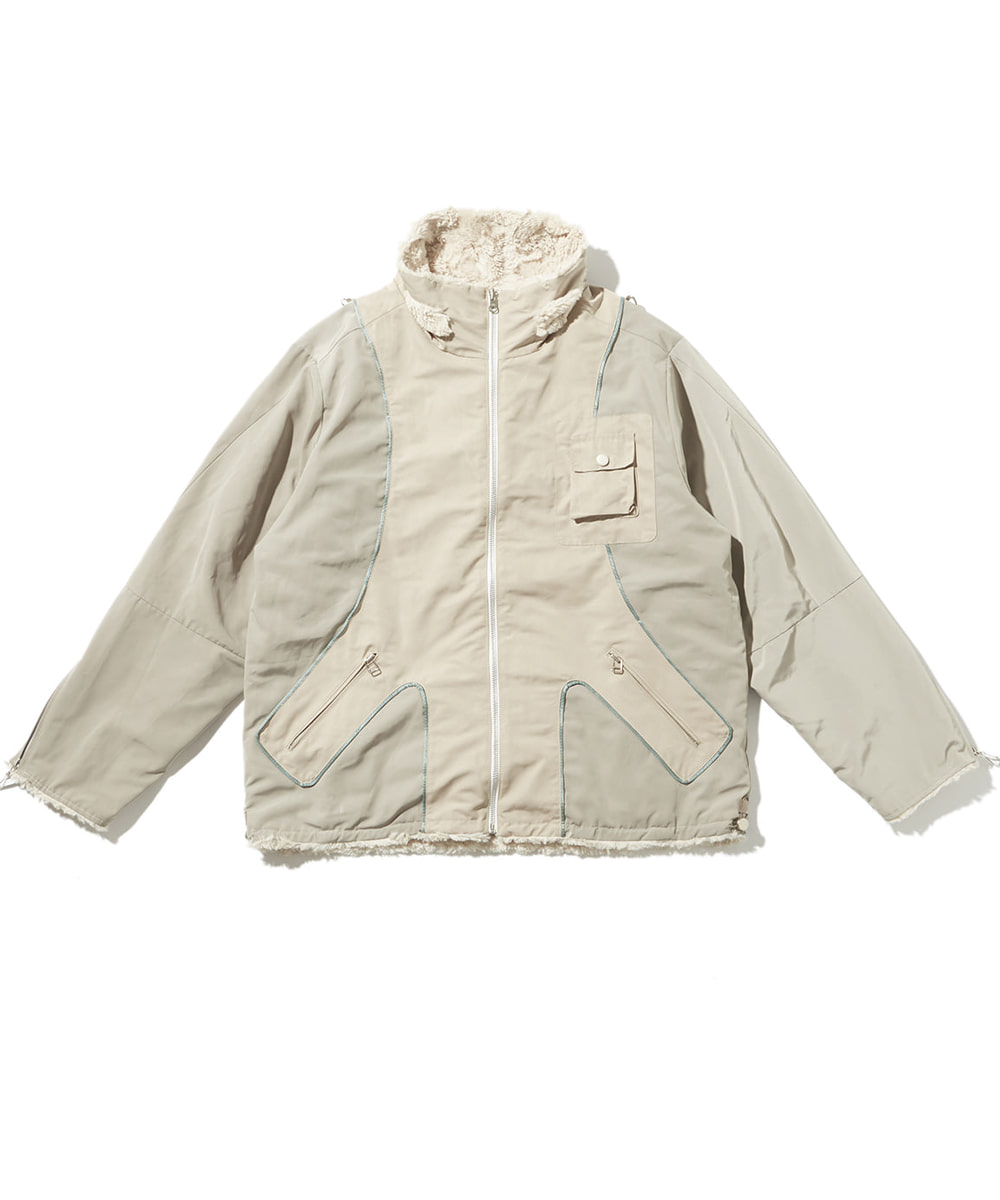 JOEGUSH조거쉬 Reversible Tactical Fluffy Jacket (Beige)