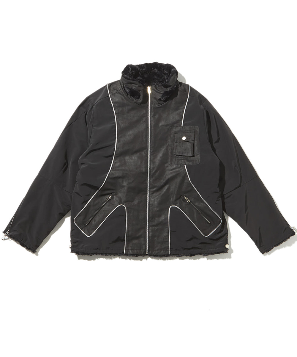 JOEGUSH조거쉬 Reversible Tactical Fluffy Jacket (Black)