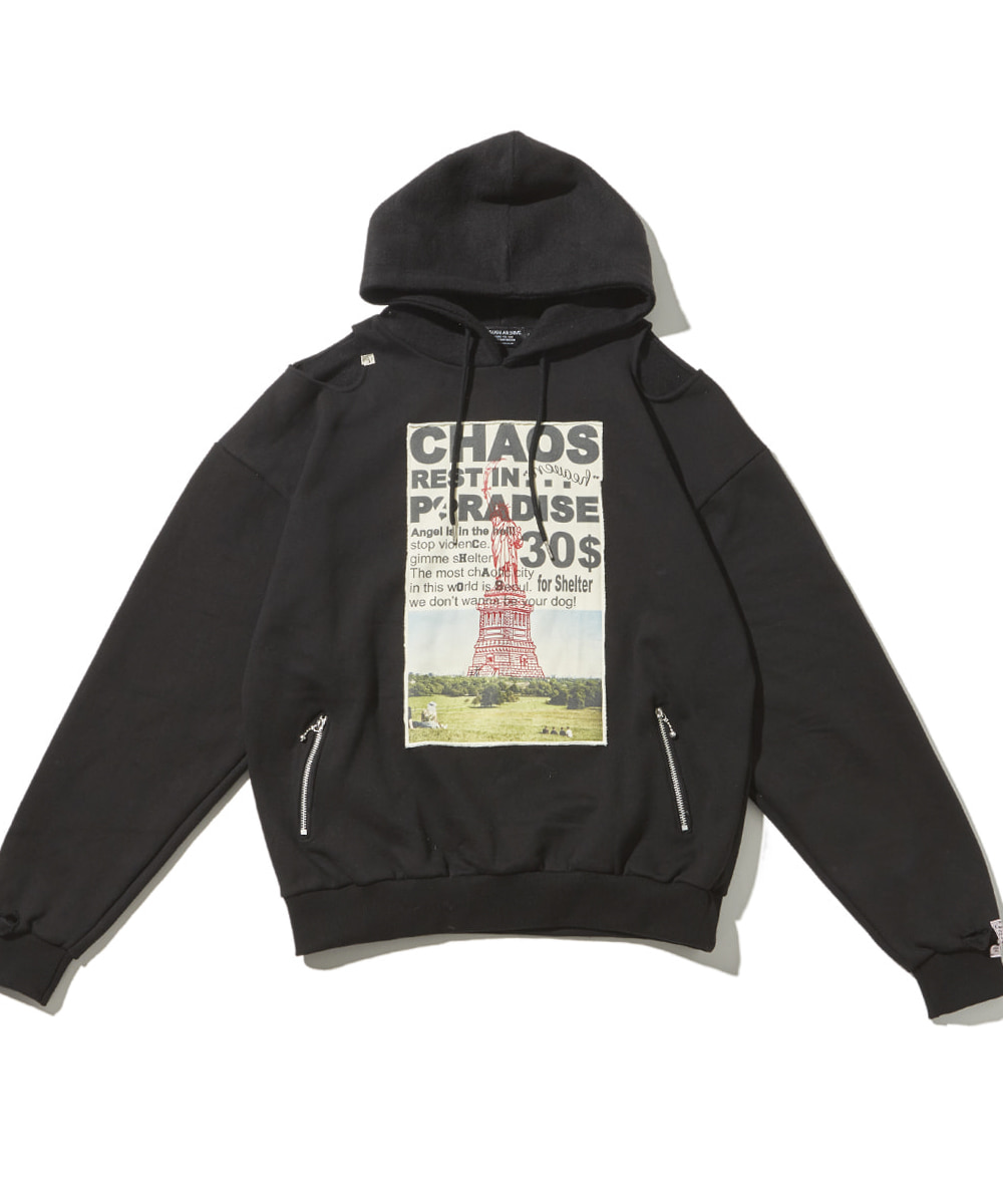 JOEGUSH조거쉬 Patched & Inside-out hoodie (Black)