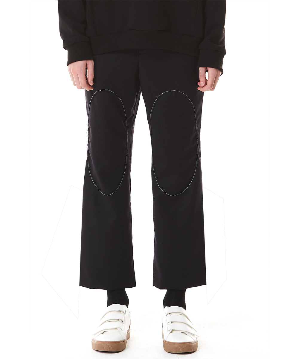 Millin밀린 Circle Stitch Cropped Straight Trousers