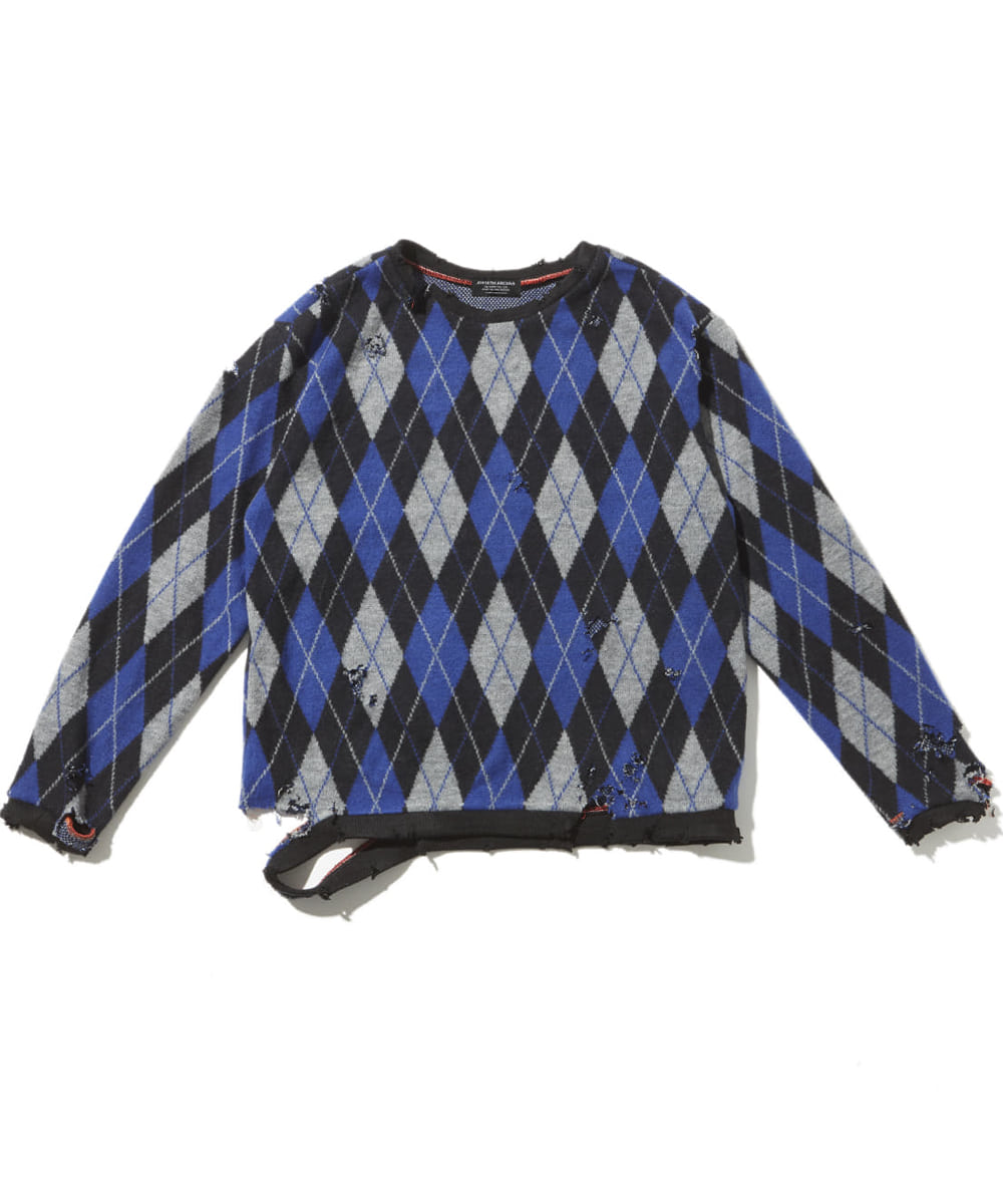 JOEGUSH조거쉬 Distressed argyle knit (Blue/Black)