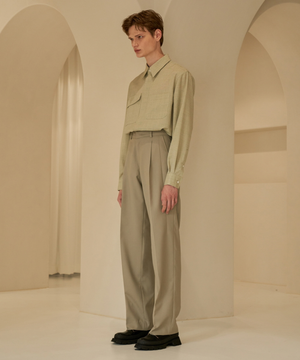 STU에스티유 Loosefit Slacks Mint Beige