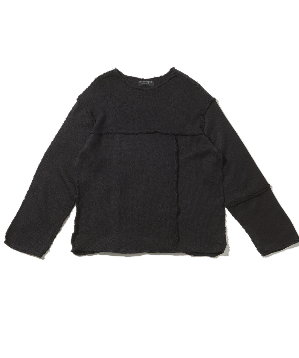 JOEGUSH조거쉬 Panel inside-out mohair knit (Dark navy)