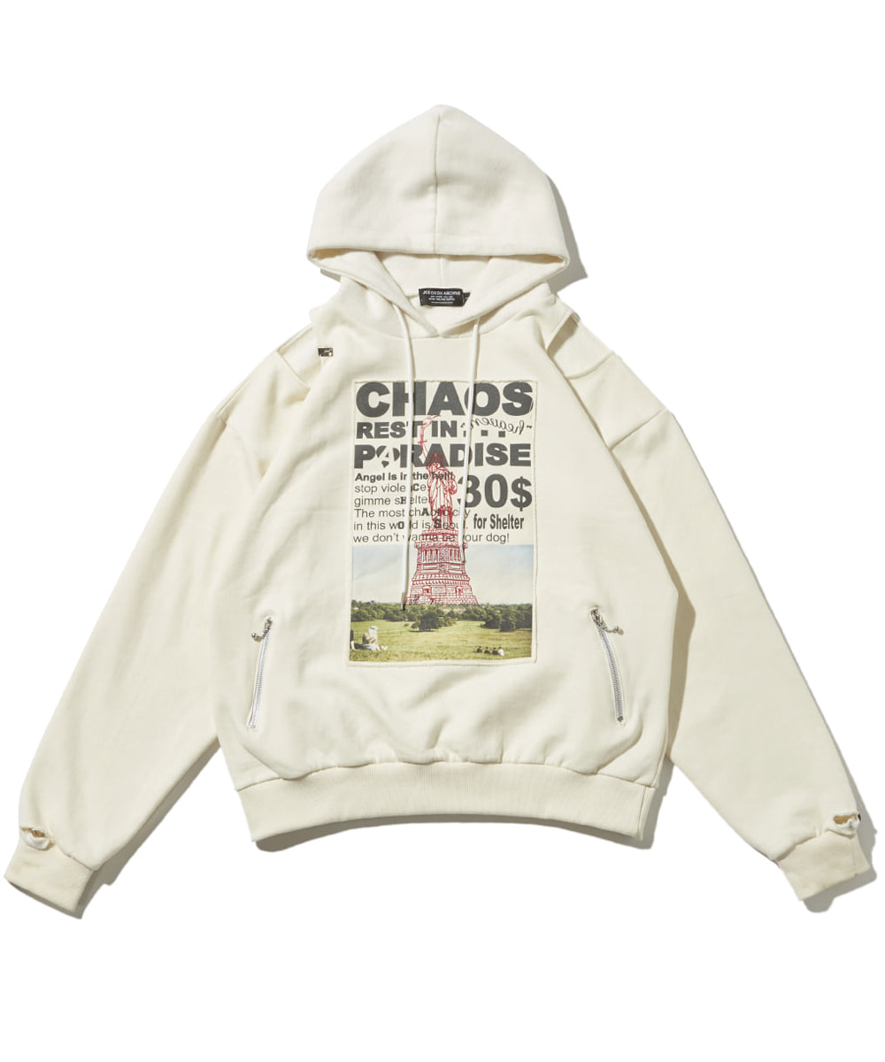 JOEGUSH조거쉬 Patched & Inside-out hoodie (Ivory)