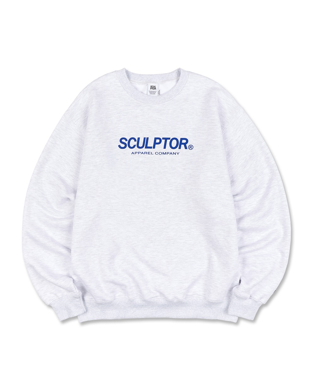 SCULPTOR스컬프터 Flocking Logo Sweatshirt [WHITE MELANGE]