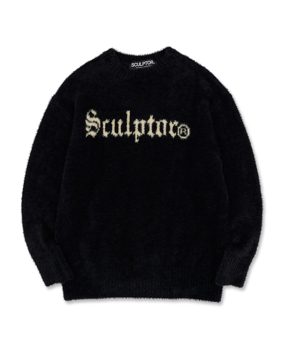 SCULPTOR스컬프터 Fuzzy Logo-Intarsia Sweater [BLACK]