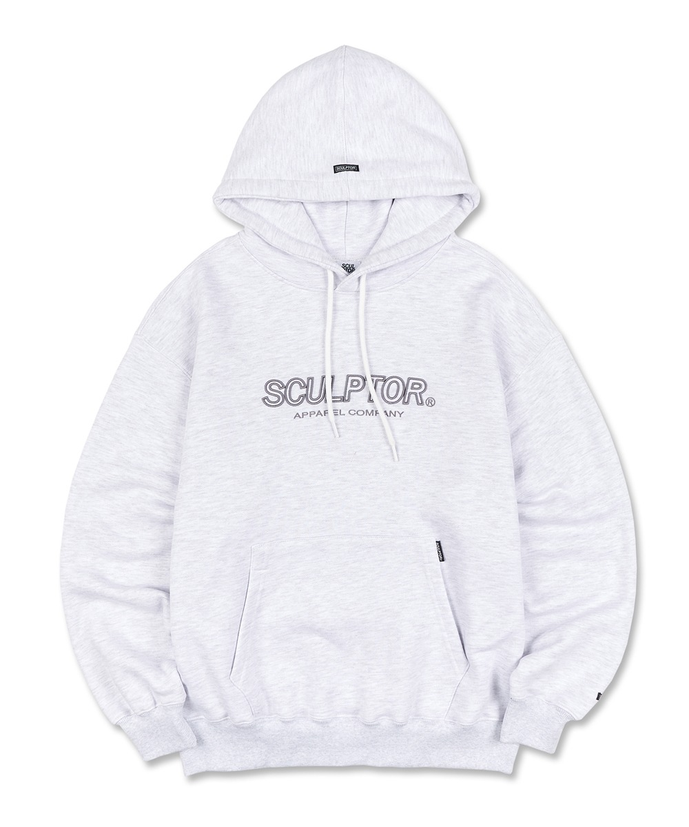 SCULPTOR스컬프터 3D Embroidery Logo Hoodie [MELANGE WHITE]