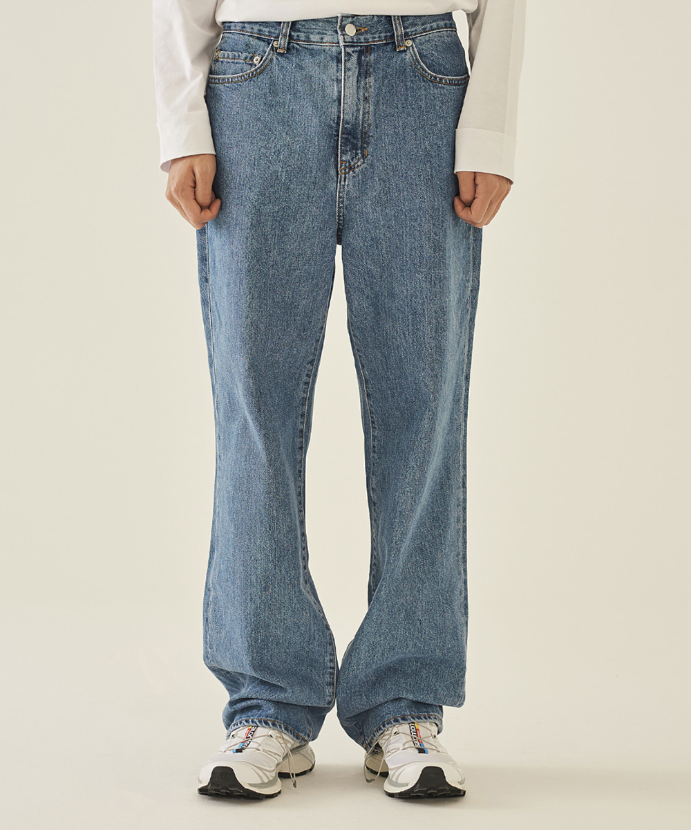llud러드 LLUD Loose fit Straight Jeans BLUE
