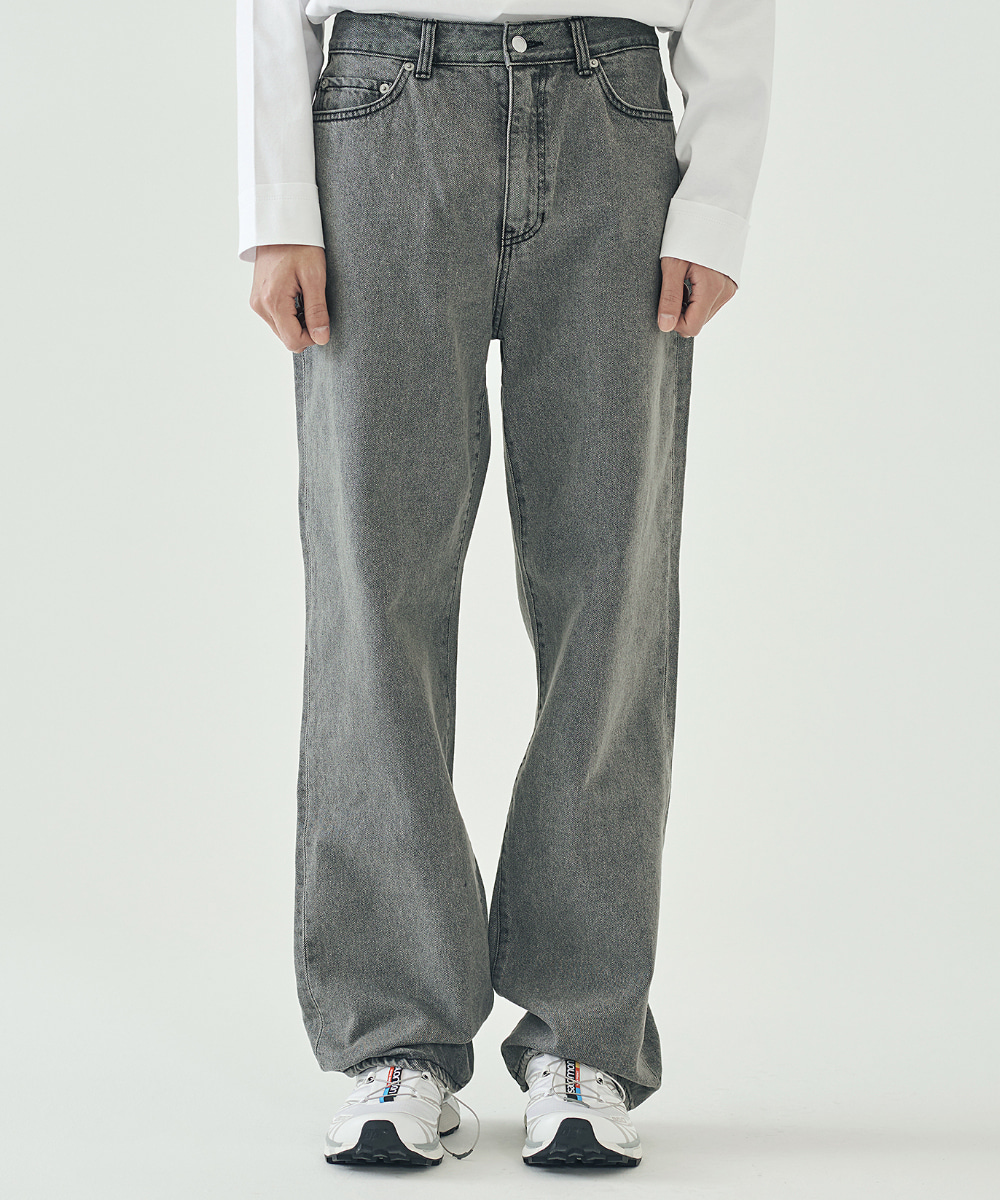 llud러드 LLUD Loose fit Straight Jeans GREY
