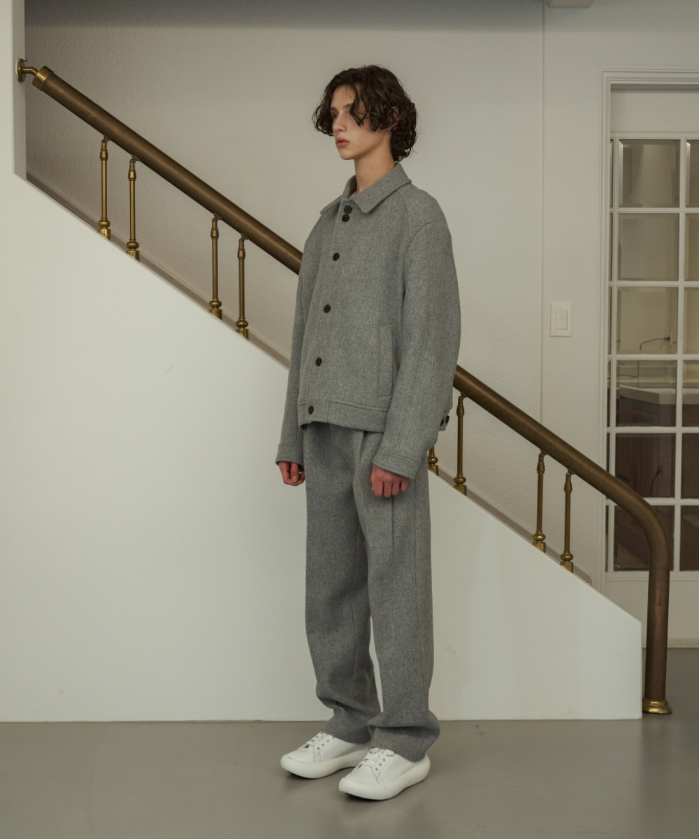 STU에스티유 Two Tuck Loosefit Slacks Grey Blue