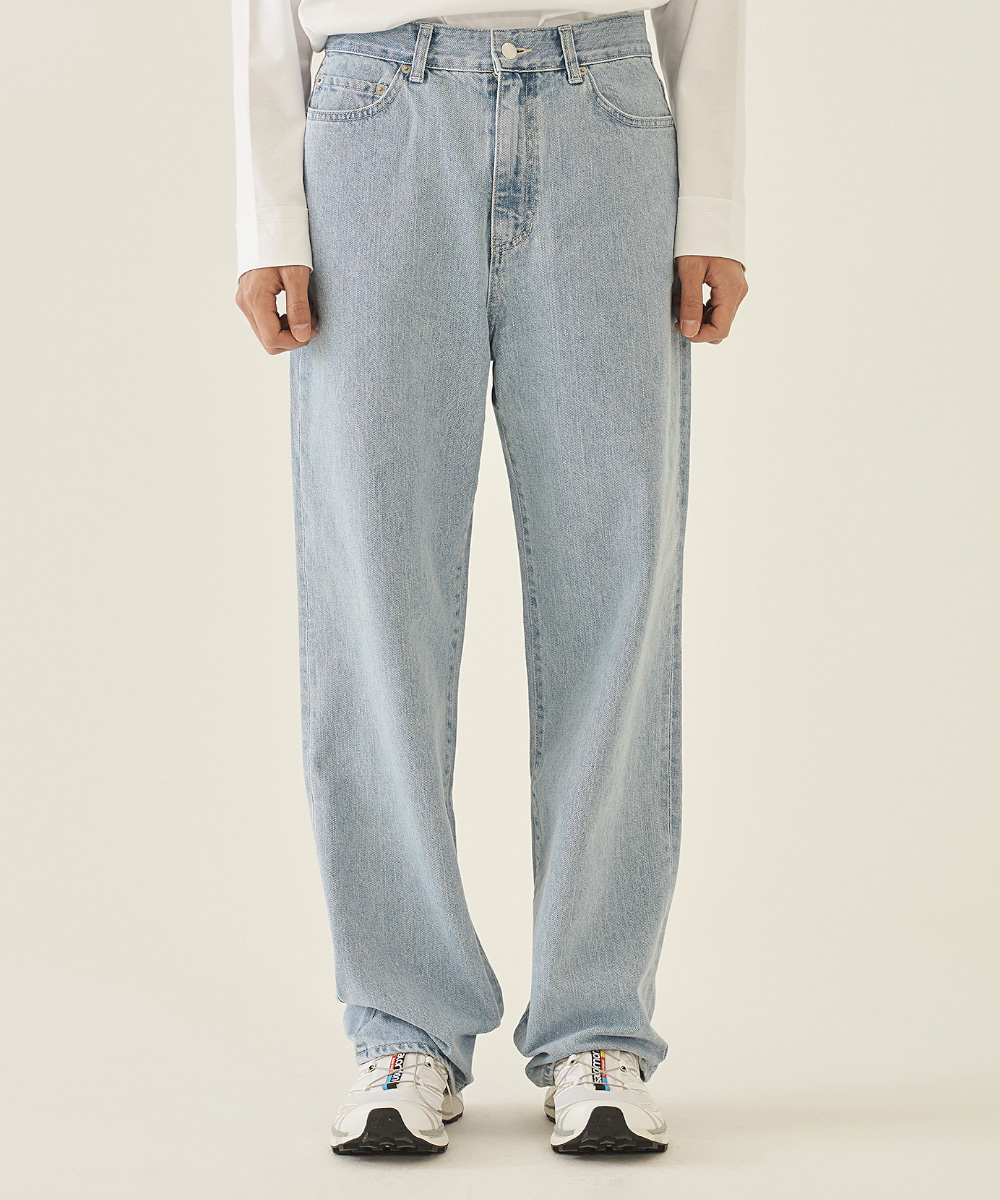 llud러드 LLUD Loose fit Straight Jeans LIGHT BLUE