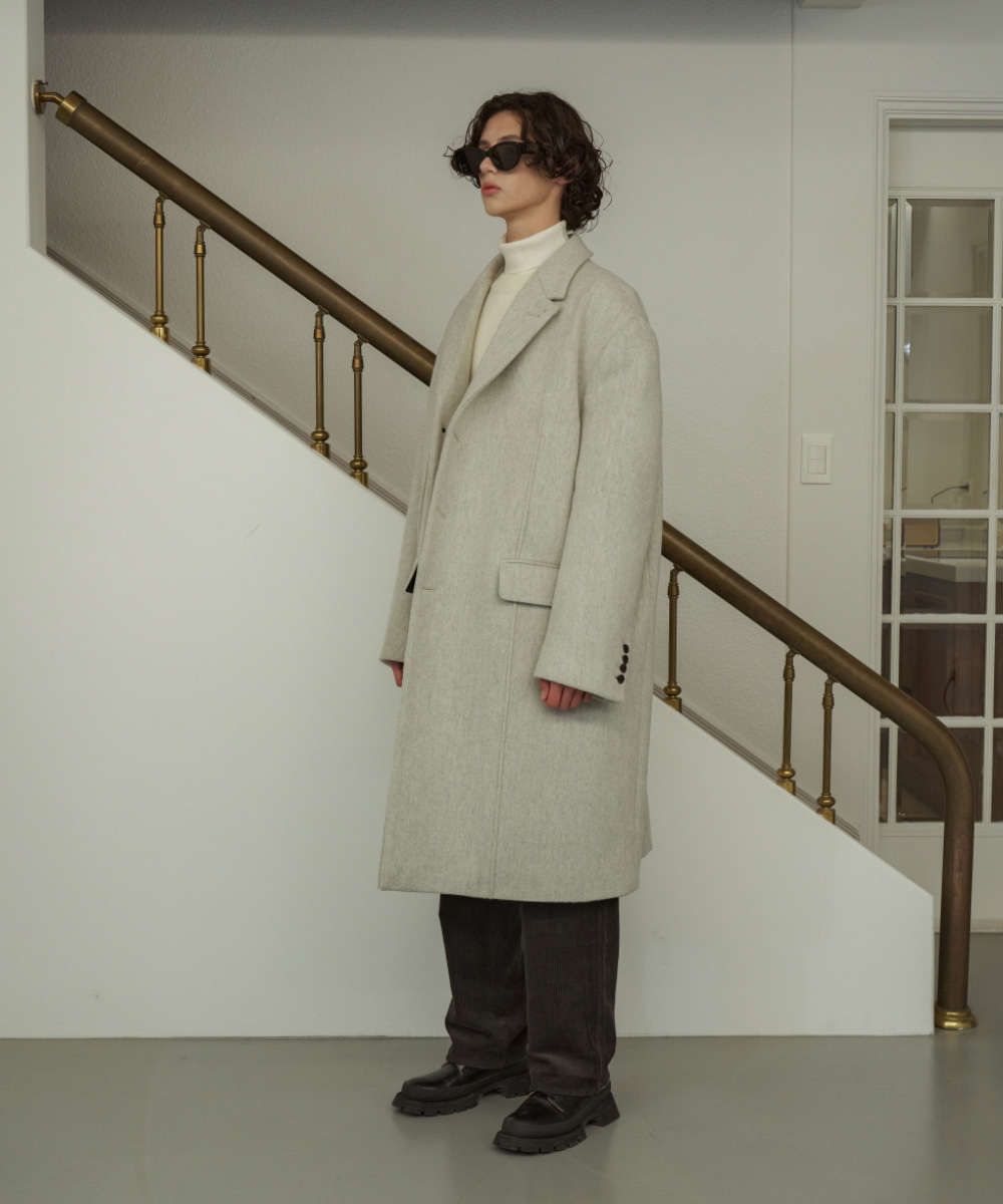 STU에스티유 (LLUD x STU) 3 Button Overfit Pintuck Coat Melange Grey